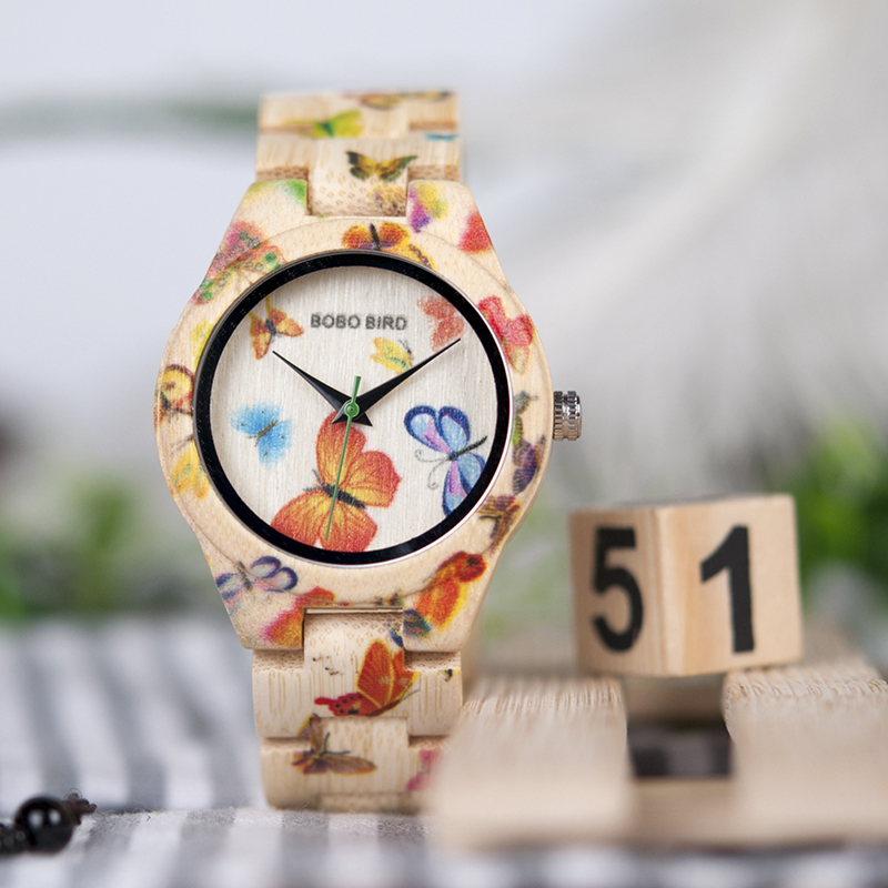 BOBO BIRD Bamboo Watch Women Designer Printing Quartz Movement Bamboo Strap Ladies Wristwatch B-O20 bobo bird bamboo wood quartz watch men women japanese majoy movement soft silicone strap casual ladies watch wristwatch for gift