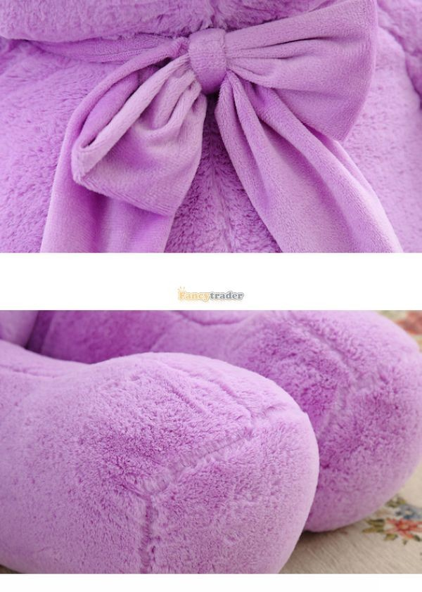 Fancytrader 1 pc 63\'\' 160cm Giant Cute Stuffed Soft Plush Lovely Fat Lavender Teddy Bear, Free Shipping FT50741 (10)