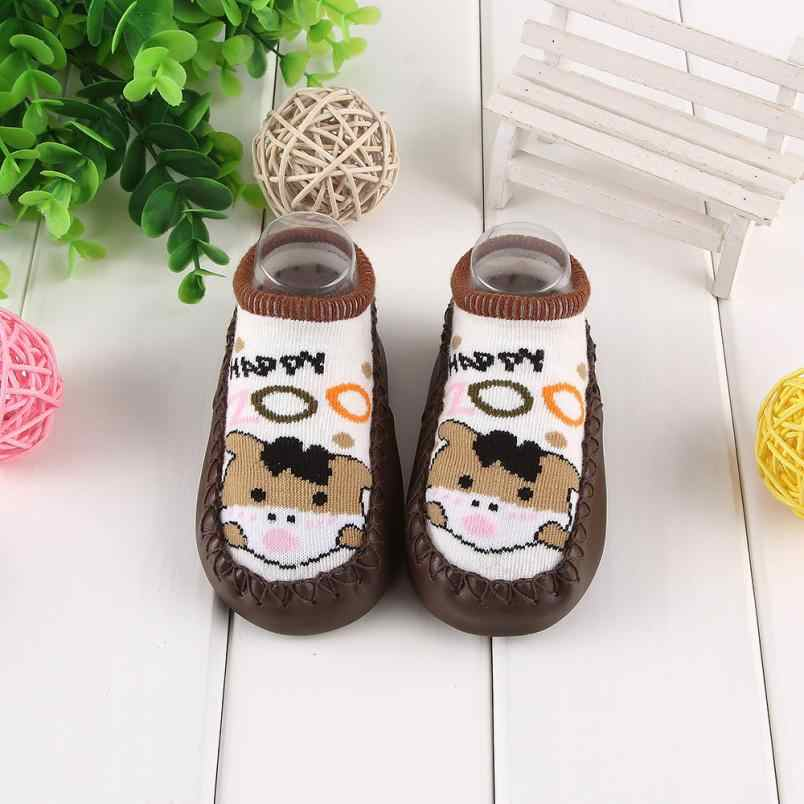 Nieuwe Cartoon Pasgeboren Baby Meisjes Jongens Anti-Slip Sok Slipper Schoenen Voorraden Leuke Patroon Gebreide Sokken Panda Leuke Sokken schoenen 0717