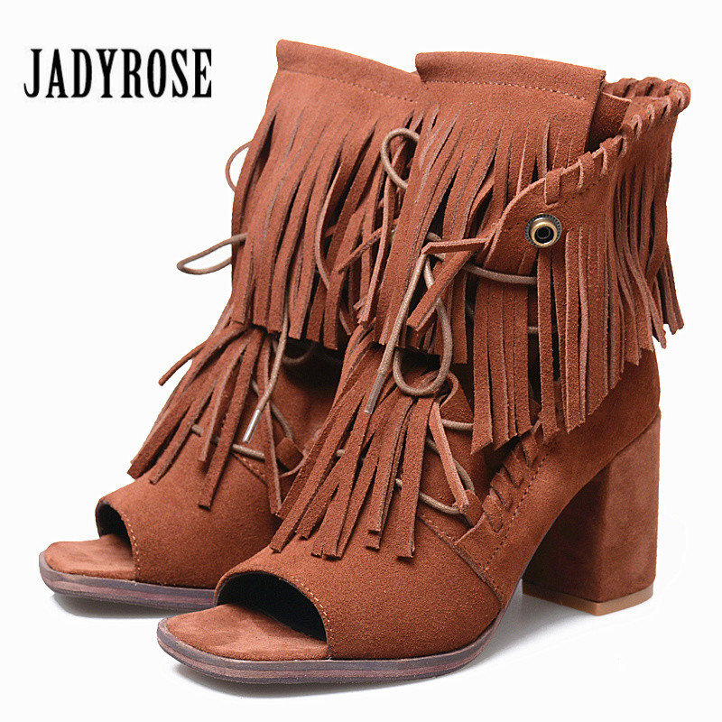 Jady Rose Full Fringed Women Ankle Boots Peep Toe Summer Boots Suede Chunky High Heels Tassels Lace Up Sandals Women Pumps summer fashion shoes suede tassel stiletto high heels shoes peep toe lady ankle boots fringed lace up platform sandal boots