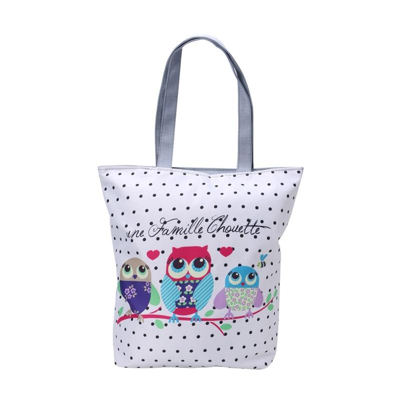 Canvas Cartoon Printing Tote Shoulder Handbag Owl Print Shopping Satchel Folding Bag Casual Bucket Shape