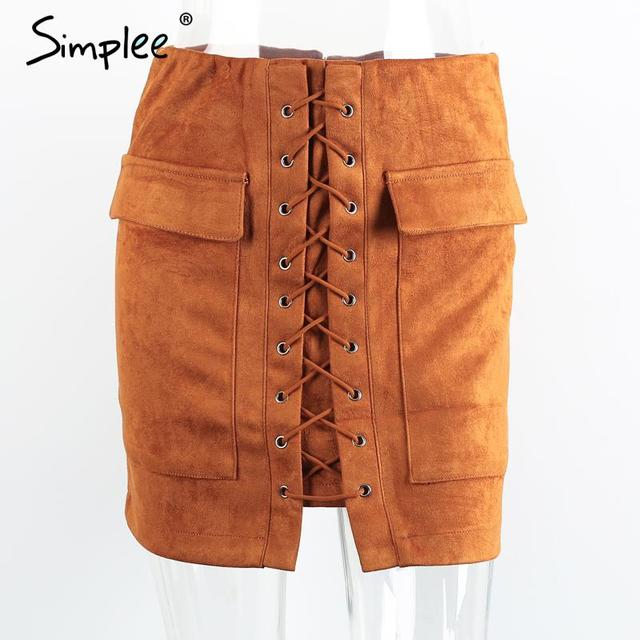 Women's Suede Lace Up Mini Skirt