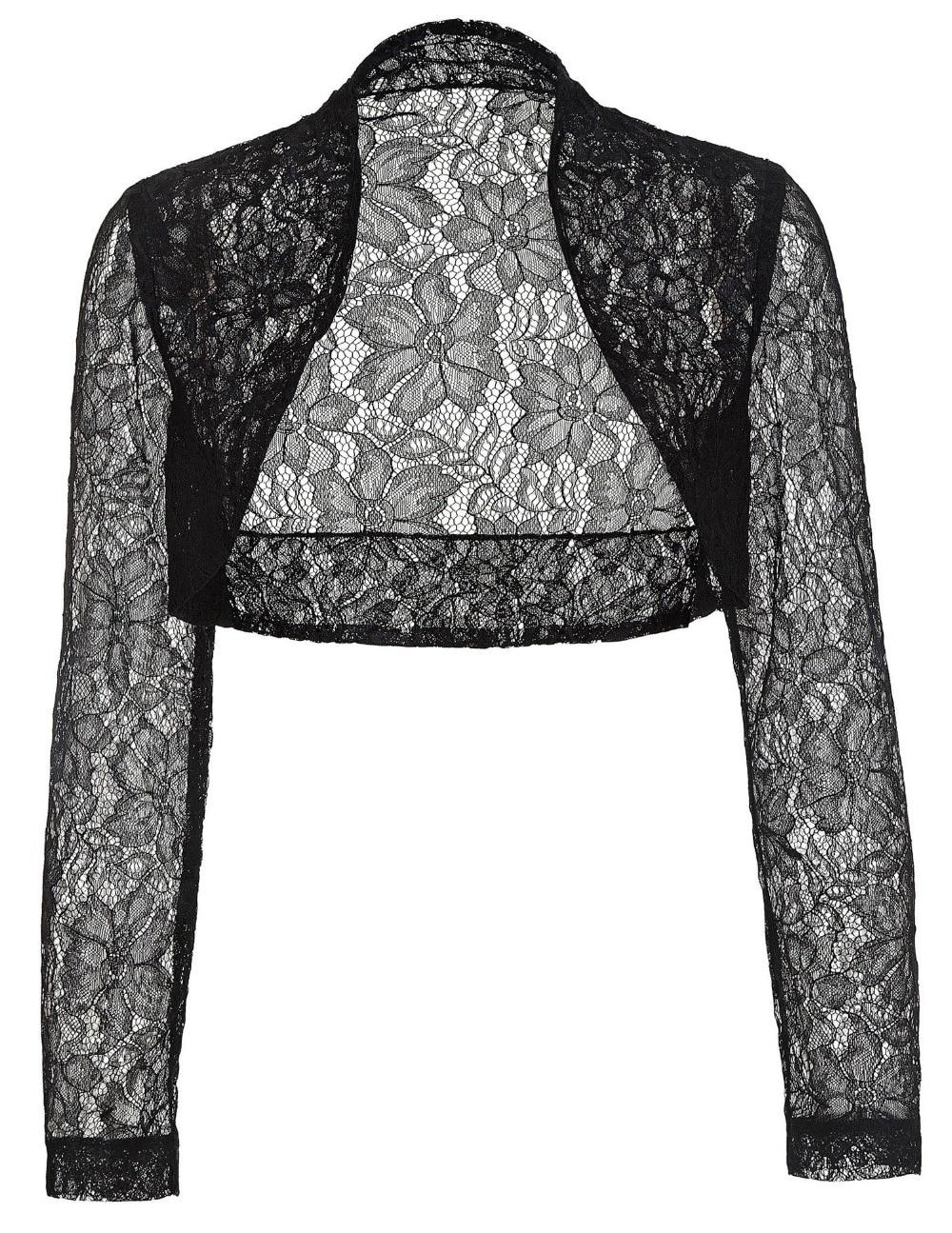 Elegant long sleeve lace bolero jacket wedding accessories for Black lace jacket for wedding dress