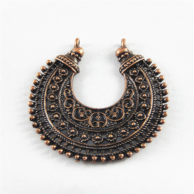 (10Pieces)Bohemia Copper Hollow Moon Jewelry Connector Bracelet Charms 39*39mm Necklace Pendant Jewelry Key Chain Hanger 52068