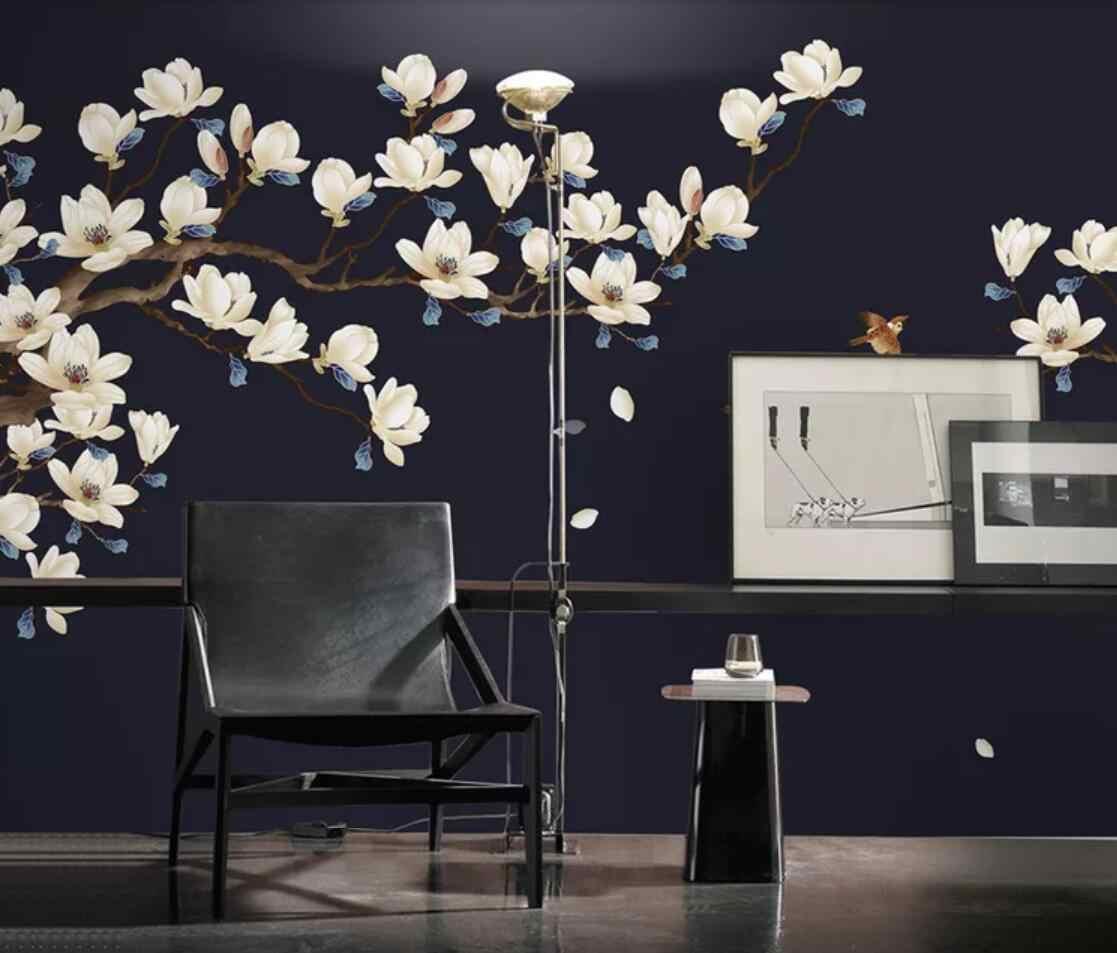 Magnolia Flower Wallpaper Black Background Wall Mural Waterproof