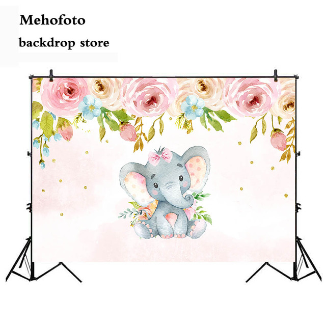 Mehofoto Fireplace Elephant Animal Photography Backdrop Flower Newborn Baby Shower Photo Background Video Studio Printed 125