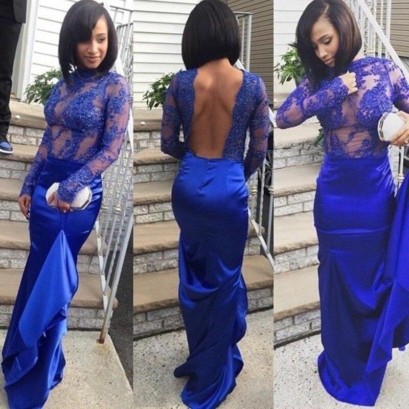 Online Get Cheap Royal Blue Mermaid Long Sleeve Backless Prom ...