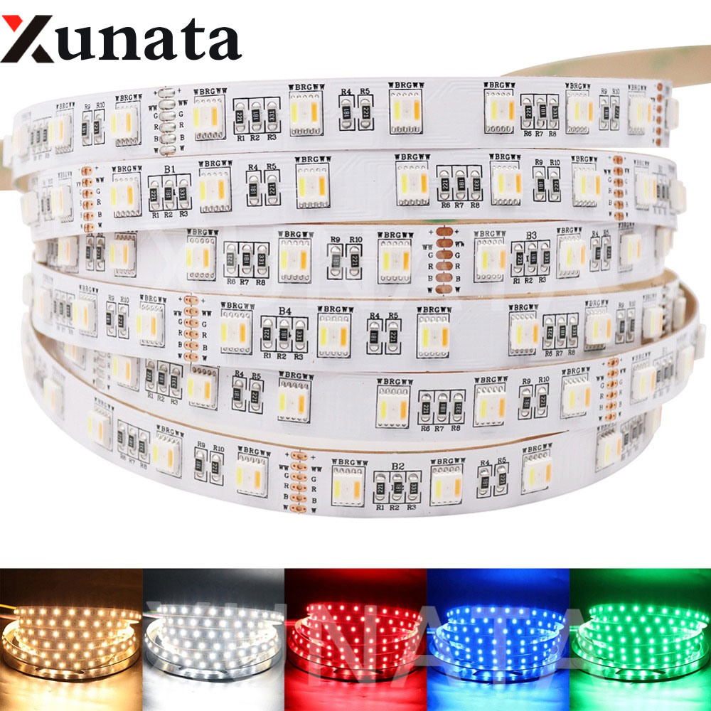 5 couleurs dans 1 puce RGB + CCT LED lampe à bande 5M DC12V 24V 5050 SMD 60 LED s/m RGBW RGBWW bande Flexible lumière décor à la maison éclairage