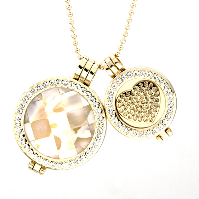 2017 New Gold Plated Shell and Heart Coin Pendant double my coin pendant necklace set for Lover Gift DCN0004