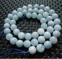 Freeshipping Wholesale 2 Strands Set Natural 7 5 8mm Brazilian Aquamarine Round Beads Stone Gem For