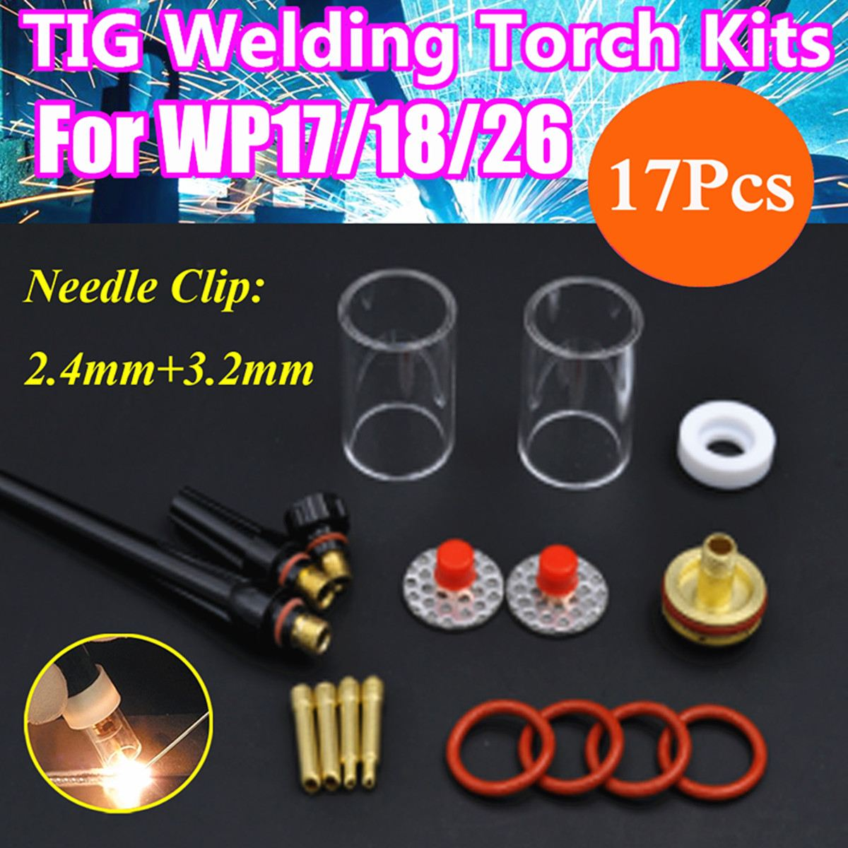 17PCS TIG Welding Torch Gas Lens Pyrex Glass Cup Stubby Collet FOR WP-17/18/26 Series Welding Accessories