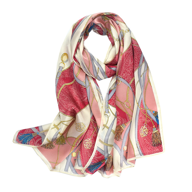 New Outdoor Warm Silk Scarf For Women In 2019 100% Red Printed Natural Fabrics High Quality Gift