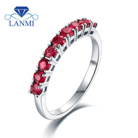 Fine Jewelry Oval Natural Ruby Real 14k White Gold Diamond Rings Wholesale Special Design For Women