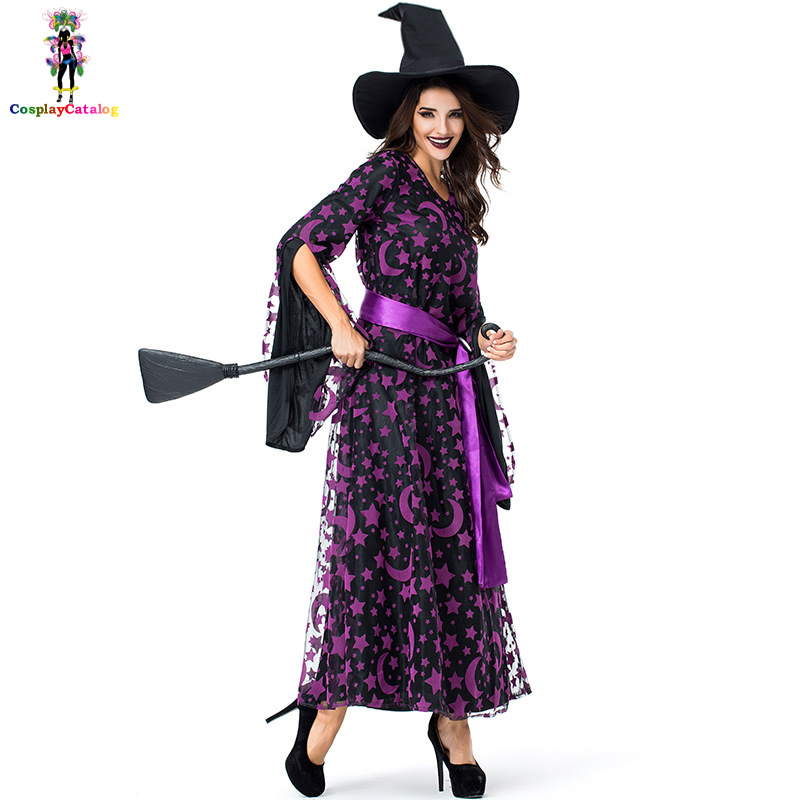 Purple Stars & Moon Magic Witch Brilliantly Bewitched Costume Spellbound Amethyst Pentagram Witch Costumes Halloween Uniforms