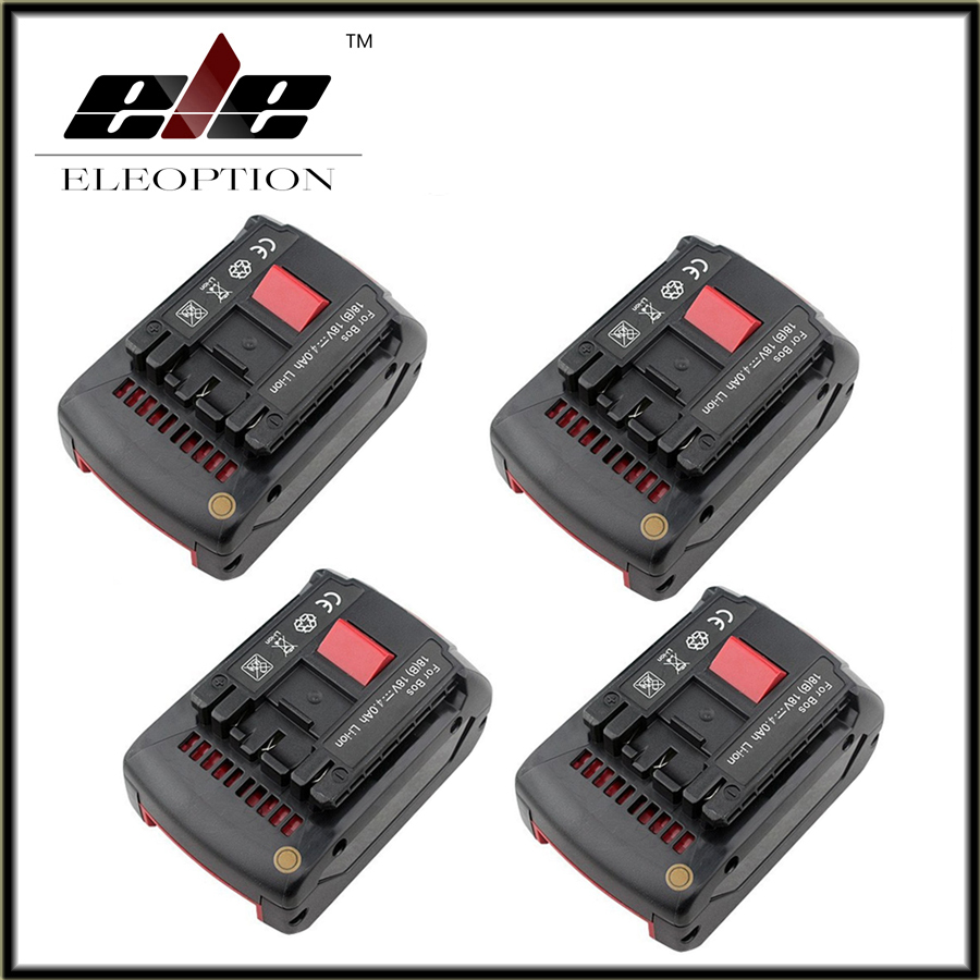 4 pcs Replacement for <font><b>Bosch</b></font> Rechargeable <font><b>battery</b></font> <font><b>18v</b></font> 4.0 Ah Li-ion <font><b>Battery</b></font> for <font><b>Bosch</b></font> 17618 BAT609 BAT618 with led light image