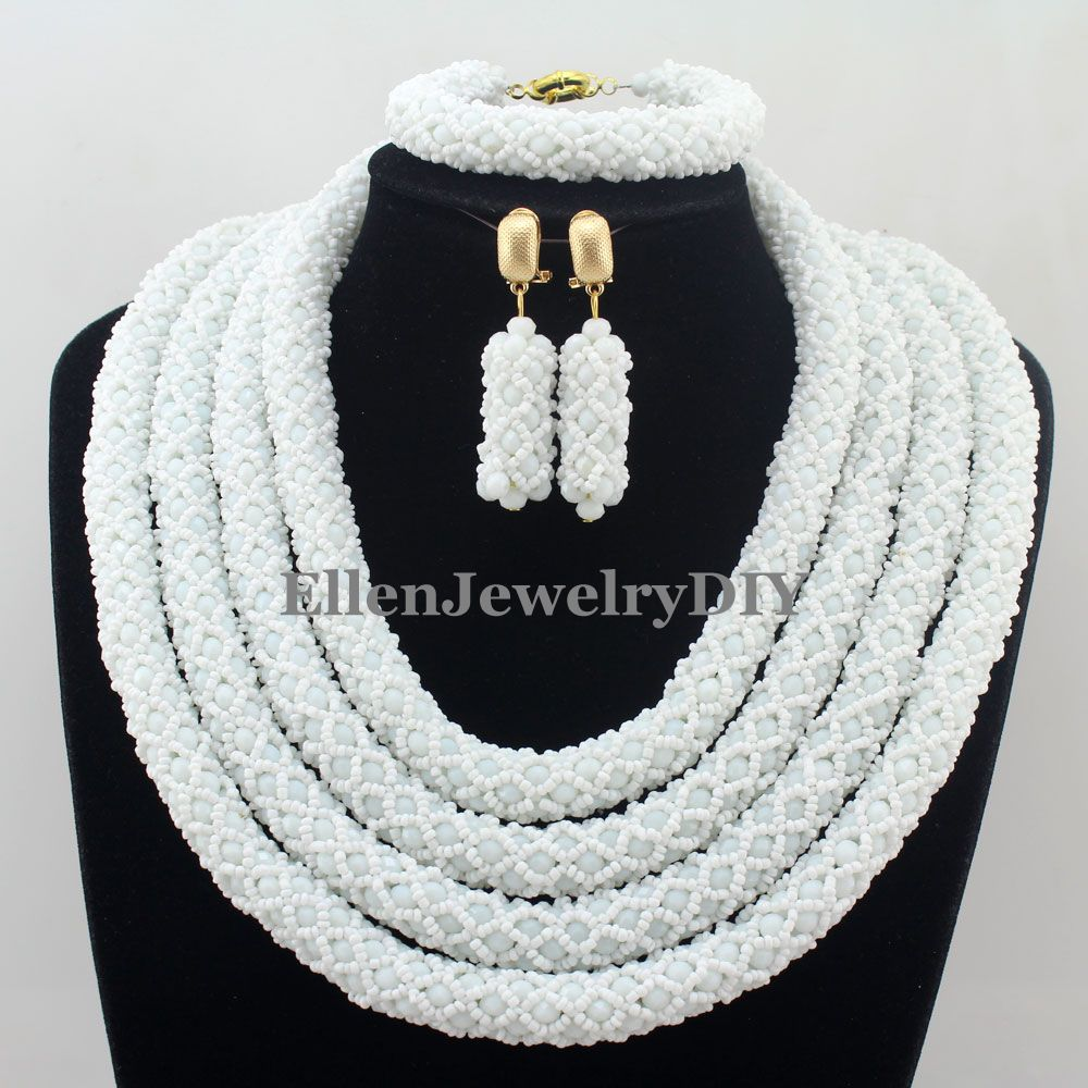 Nigerian Wedding African Beads Jewelry Set New Rushed Classic Women Crystal beaded Necklace set W12663 все цены