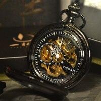 TIEDAN Retro Vintage Antique Black Sport Style Classic Chain Fashion Steampunk Skeleton Mechanical Pocket Watch Men