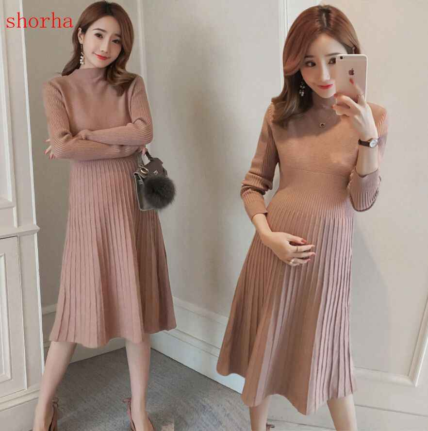 Autumn Winter Knitted Maternity Sweaters Dress Clothes for Pregnant Women Fall Elegant Pregnancy  Sweaters