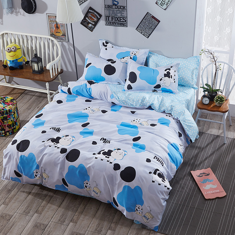 Bedding Textile Polyester White Cow Pattern 4Pcs Bed Sheet Pillowcase Bed  Set Bed Cover Quilt Cover