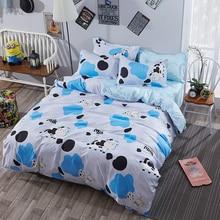 Постельные принадлежности полиэстер белый узор корова 4 шт. Кровать Лист наволочку кровать установить Одеяло Обложка Покрывало Постельное белье Мягкие