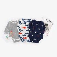 Autumn Unisex Newborn Print Rompers Infant Baby Cartoon Long Sleeve Jumpsuits Kids Fish Print Clothes