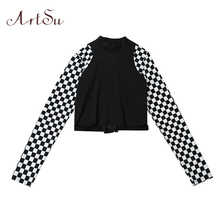 ArtSu Checkerboard Long Sleeve Crop Top Turtleneck Buckle T-shirt Women Harajuku Tee Shirt Plaid Funny T shirt Femme ASTS20632
