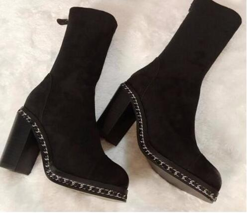 Newest  European Style Black Suede Leather Round Toe High Platform Knee High Boots Silver Chains Thick Heel Women Dress Shoe