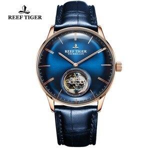 Image 4 - Reef Tiger/RT สีฟ้า Tourbillon นาฬิกาผู้ชายอัตโนมัติ Mechanical นาฬิกาข้อมือหนังแท้สายหนัง relogio ชาย RGA1930