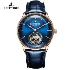 Image 4 - Reef relógio mecânico automático tiger/t, relógio masculino de couro genuíno com turbilhão azul, rga1930
