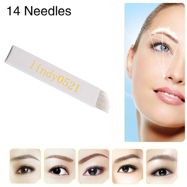 200pcs/lot Fashion Permanent Eyebrow Makeup Tattoo Bevel Blades 14 Needles For Manual Tattoo Pen