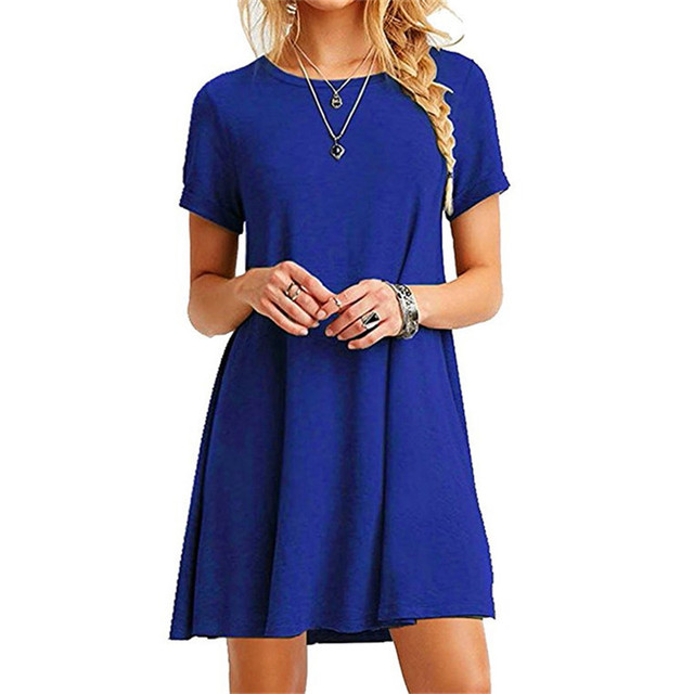 High Quality Fashion Women Black Blue Dress Summer Short Sleeve O-Neck Casual Loose Dress Female Street Plus Size Dress Vestidos 4