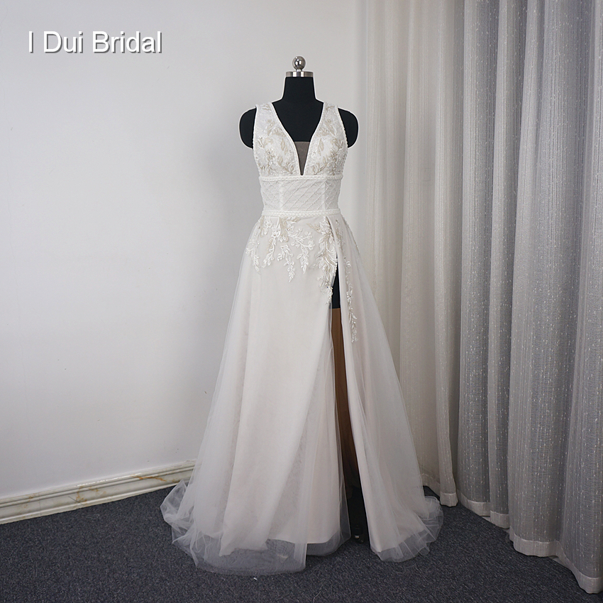 Wedding Gown With Neck Detail: High Split Leg Wedding Dress V Neck Vintage Beaded Lace