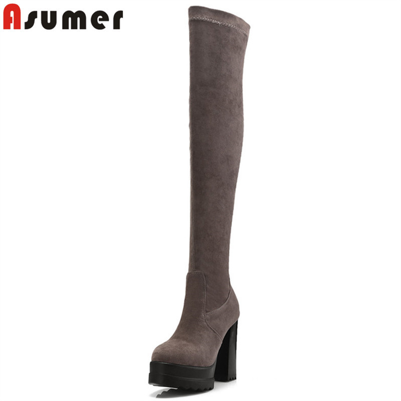 ASUMER 2018 fashion autumn winter boots round toe zip over the knee boots round toe platform thigh high boots big size 34-42 ASUMER 2018 fashion autumn winter boots round toe zip over the knee boots round toe platform thigh high boots big size 34-42
