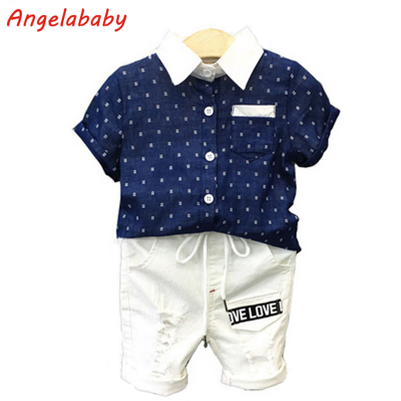 2018 Boys Clothing Set Summer Side Of The Dots Single-Breasted Casual Shirt + Letters Pocket Casual Pants Kids Clothes Suit the other side of silence
