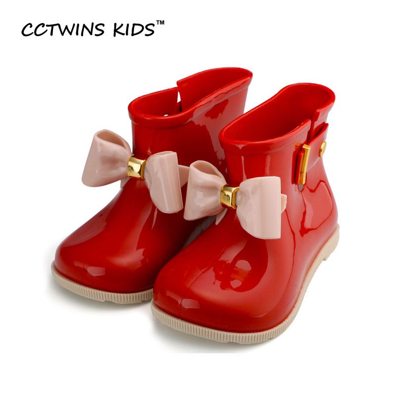 CCTWINS KIDS 2017 spring summer child pvc shoe for baby girl bow rain boot boy wellington