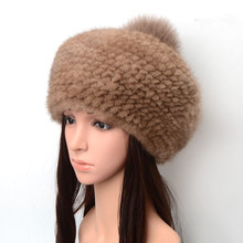 natural mink fur hats for winter women knitted warm fur big caps solid 5 colors fur pom pom autumn thicken fur hat  H182