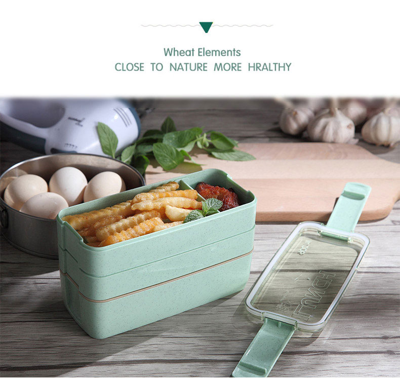Eco-friendly Wheat Straw Microwave Lunch Box For Kids School BPA-free 16