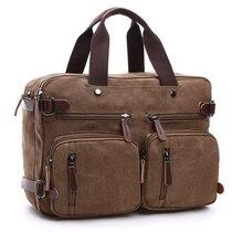 Canvas Briefcase man Bag Business Shoulder Messenger Bag Men's vintage Casual Laptop Handbag male Messenger Crossbody Bags back