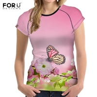 FORUDESIGNS Colorful Butterfly Print T Shirt Women Gradient Pink Female T Shirts Stylish Brand Short Sleeve