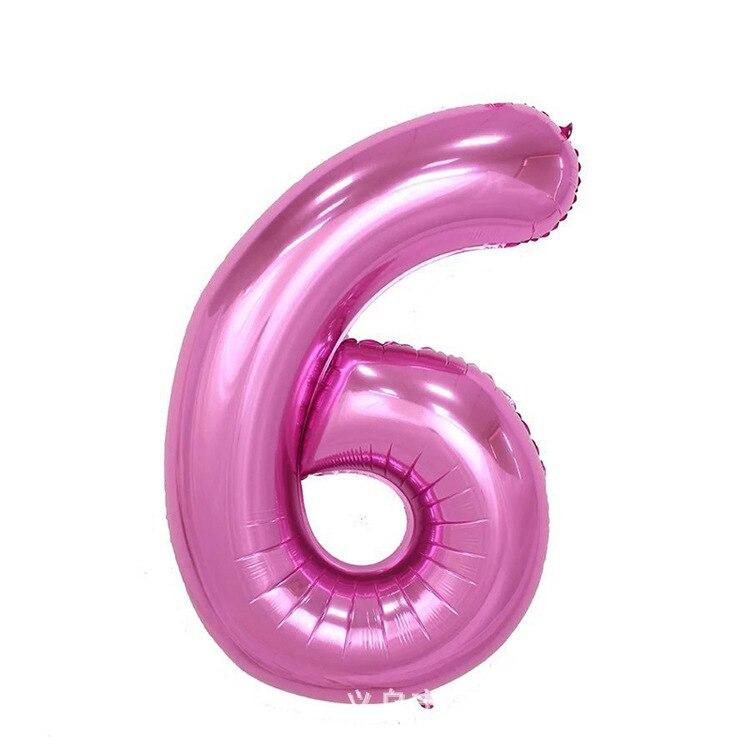 32 дюйма розовый синий 40 дюймов красный фольгированный шар большой гелиевый номер 0-9 Globo день рождения для детей Вечеринка мультфильм шляпа Декор - Цвет: pink 6