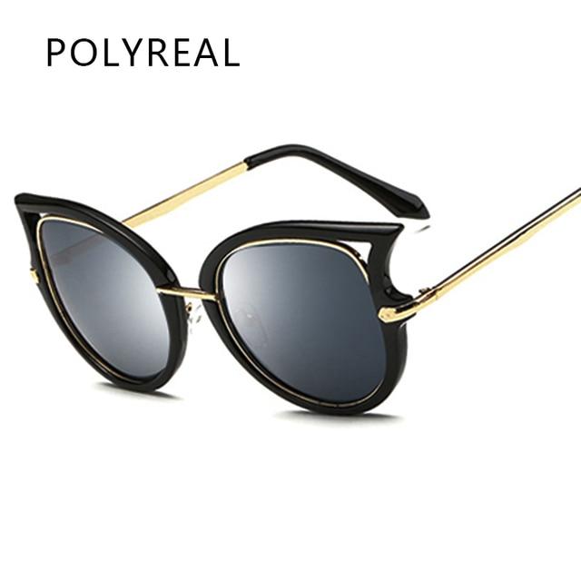 0dc58637244fdc POLYREAL À La Mode Marque Designer Cat Eye lunettes de Soleil Femmes Mode  Vintage Dames Cateye