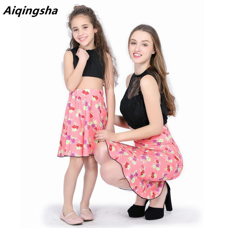 2018 summer 2pcs mom and daughter dress mommy baby dresses