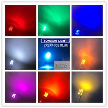 Lampes à diodes électroluminescentes (DEL) ultra lumineuses, ampoules carrées 2x3x4mm disponibles en couleurs chaudes, rouge, verte, jaune, rose, orange violette, blanche, bleue glacée 234, 200 pièces