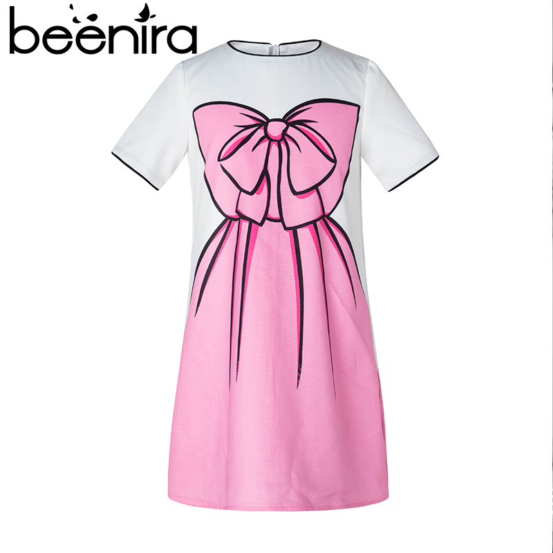 Beenira Girls Dress 2017 New Summer European and American Style 4-14Y Pink Party Dress Big Bow Print Kids Clothes Knee Length 100% real photo brand kids red heart sleeve dress american and european style hollow girls clothes baby girl clothes
