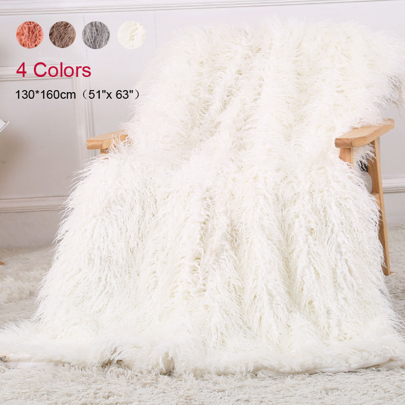 Long Faux Fur Blanket Super Soft Fuzzy Fluffy Shaggy