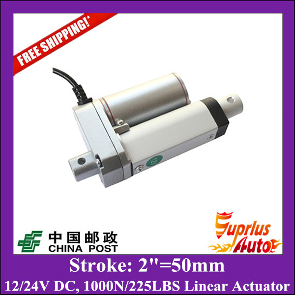 цена на Free Shipping 2/50mm Stroke 12/ 24v electric linear actuator, Max Load 1000N/225LBS/100KGS linear actuator