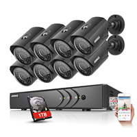 ANNKE 8CH 1080P 5in1 Security HD DVR 8pcs 720P IP66 IR CUT 100ft Night View Cameras