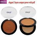Calidad polvo maquiagem clásico compacto de maquillaje polvo compacto con espejo puff 2 capas Envío libre