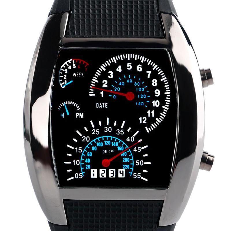 2018 Fashion Blue LED Light Watch Male Date Black Rubber Speedometer Digital Wrist Watches Men's Clock Dot Matrix Boys Mens Gift цена и фото