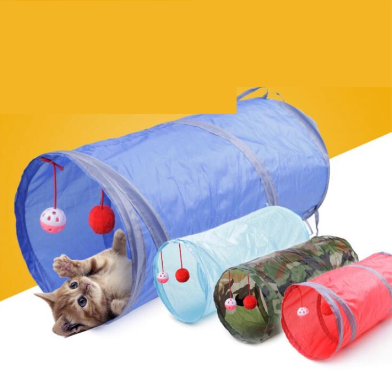 PUPISHE 2 Holes Foldabe Pet Cat Tunnel Indoor Outdoor Pet Cats Training Toys For Cat Kitten Animals Play Tunnel Tubes